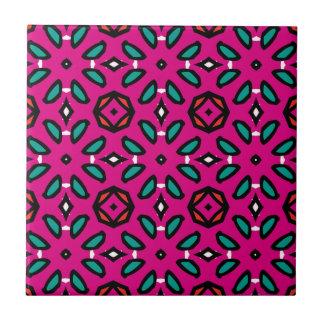 Teste padrão floral geométrico do rosa quente azulejo de cerâmica