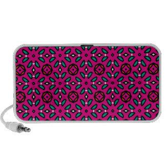 Teste padrão floral geométrico do rosa quente caixinha de som para notebook