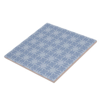 Teste padrão floral geométrico na luz - azul azulejos