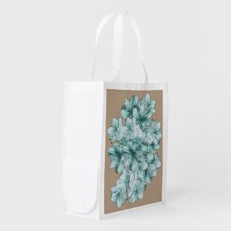 Teste padrão floral ilustrado verde da flor da sacola ecológica para supermercado