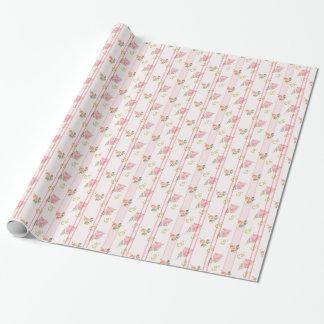 Teste padrão floral listrado cor-de-rosa rústico papel de presente