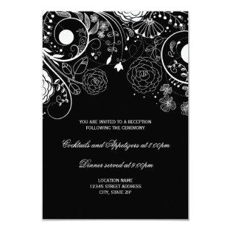 Teste padrão floral preto/branco - convite da