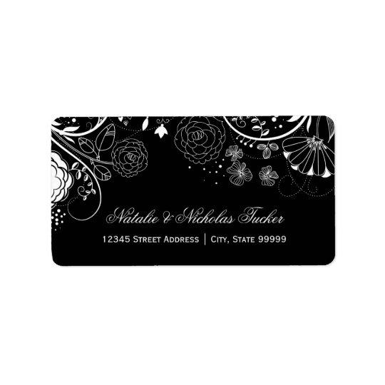 Teste padrão floral preto/branco - etiquetas de
