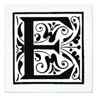 Teste padrão floral preto e branco inicial do convite quadrado 13.35 x 13.35cm
