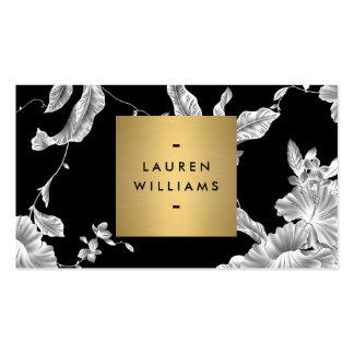 Teste padrão floral preto elegante 3 com logotipo cartão de visita