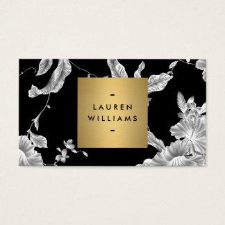 Teste padrão floral preto elegante 3 com logotipo cartão de visitas