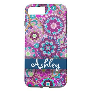 Teste padrão floral retro com nome capa iPhone 7 plus