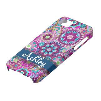 Teste padrão floral retro com nome capa para iPhone 5