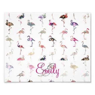 Teste padrão floral retro dos flamingos do monogra fotografias