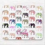 Teste padrão floral retro feminino dos elefantes d mousepad