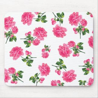 Teste padrão floral: Rosas cor-de-rosa Mouse Pads