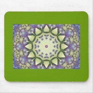 Teste padrão floral roxo, verde, amarelo do caleid mouse pad