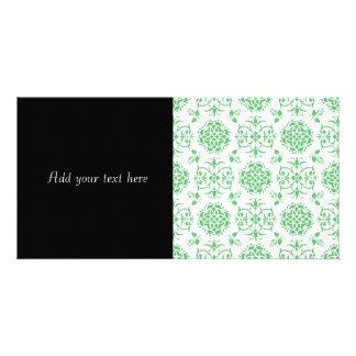 Teste padrão floral verde e branco da hortelã do cartão com foto
