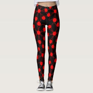 Teste padrão floral vermelho legging