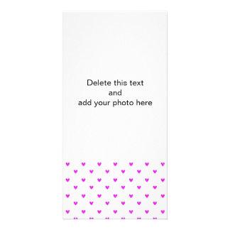 Teste padrão fúcsia dos corações do brilho cartão com foto