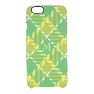 Teste padrão geométrico da xadrez verde e amarela capa para iPhone 6/6S transparente