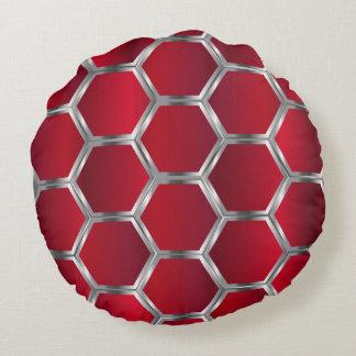 Teste padrão geométrico de prata vermelho & almofada redonda