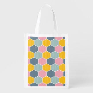 Teste padrão geométrico do favo de mel colorido sacola reusável