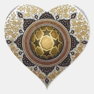 Teste padrão geométrico & floral tradicional adesivo coração