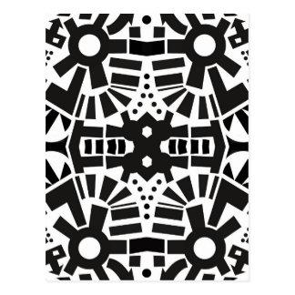 Teste padrão geométrico preto & branco moderno cartão postal