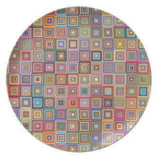 Teste padrão geométrico retro do azulejo prato