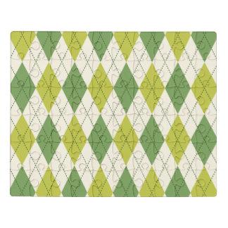 Teste padrão geométrico verde retro de Argyle