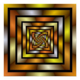 Teste padrão gráfico colorido do Fractal do túnel Pôster