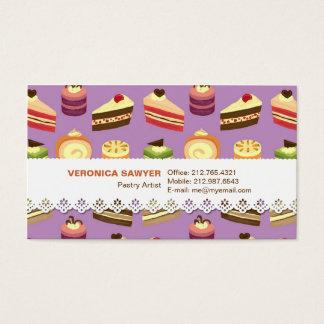 Teste padrão ilustrado do chá bolos bonitos & cartão de visitas