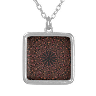 teste padrão indiano da mandala colar com pendente quadrado