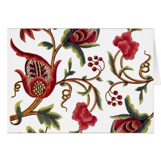 Teste padrão Jacobean tradicional do bordado Cartão