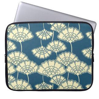 Teste padrão japonês floral escuro da folha de capas para computadores