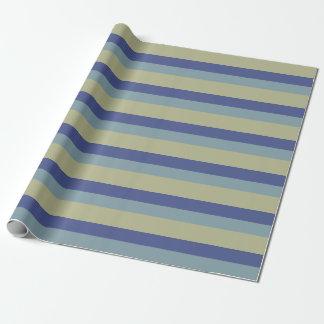 Teste padrão Khaki azul das listras das cores na Papel De Presente