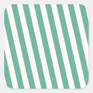 Teste padrão listrado azul retro adesivo em forma quadrada