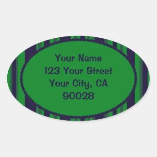 teste padrão listrado azul verde adesivo oval