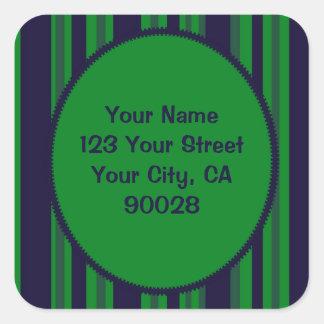 teste padrão listrado azul verde adesivo quadrado