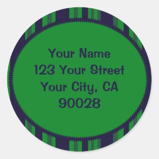 teste padrão listrado azul verde adesivo em formato redondo