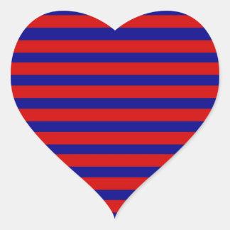 Teste padrão listrado azul vermelho e brilhante adesivos em forma de corações