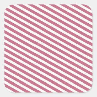 Teste padrão listrado cor-de-rosa adesivo em forma quadrada