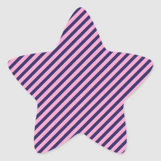 Teste padrão listrado diagonal cor-de-rosa e roxo adesivo estrela