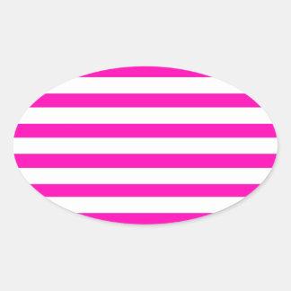 Teste padrão listrado quente de rosa do adesivos em formato ovais