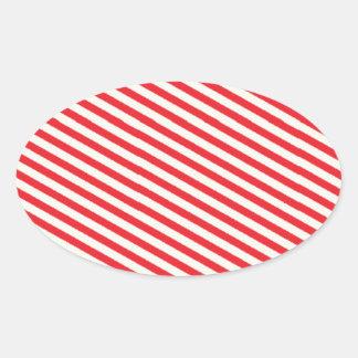 Teste padrão listrado vermelho adesivos ovais