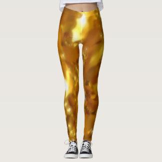 Teste padrão macio abstrato da folha do ouro leggings