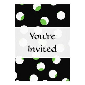 Teste padrão manchado preto branco e verde convites personalizado