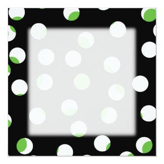 Teste padrão manchado preto, branco e verde convite quadrado 13.35 x 13.35cm