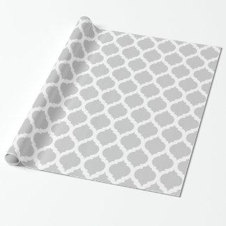 Teste padrão marroquino cinzento & branco papel de presente