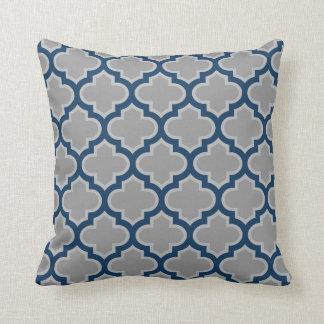 Teste padrão marroquino das cinzas e dos azuis travesseiro