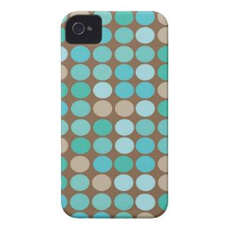 Teste padrão moderno azul dos pontos da cerceta & capa para iPhone 4 Case-Mate
