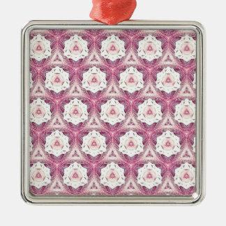 Teste padrão moderno da máscara cor-de-rosa ornamento quadrado cor prata