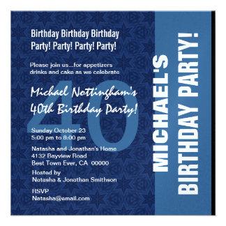 Teste padrão moderno do aniversário de 40 anos nas convite personalizado