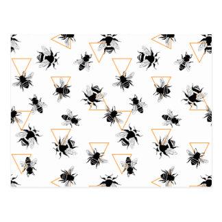 Teste padrão moderno legal das abelhas-mestras cartão postal